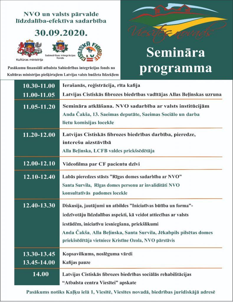 Latvijas cistiskās fibriozes biedrības seminārs Viesītē